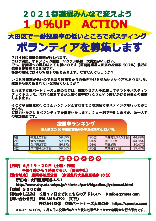 10%UP ACTION (6月19・20日東糀谷防災公園)